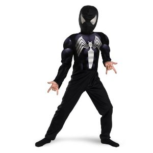 Black-Suited Spiderman Muscle Chest Costume - Small Size