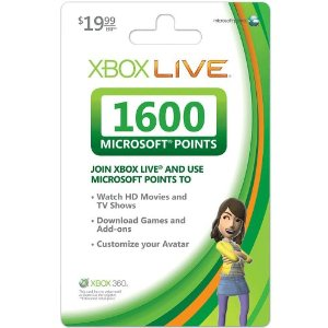Xbox 360 Live Points Card - 1600 Points US