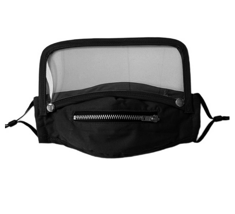 Máscara Black com Ziper e Face Shield removivel