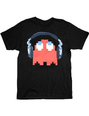 Pac-Man Red Ghost Headphones Black T-shirt