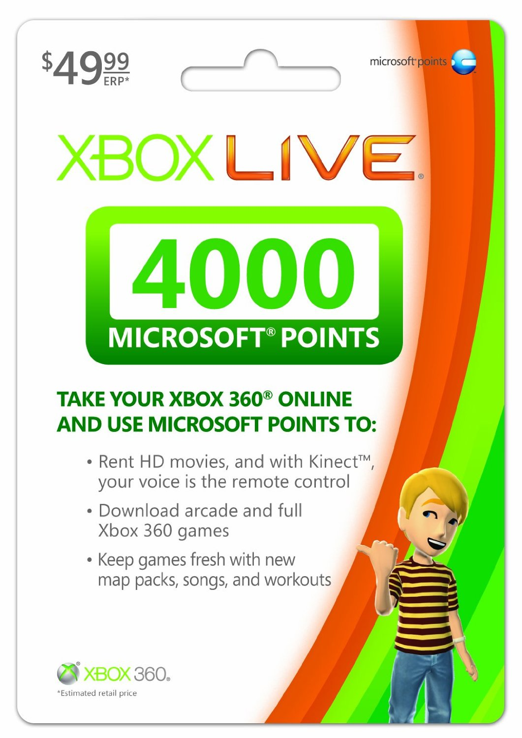 Cartao Xbox LIVE 4000 Microsoft Points USA