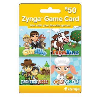 Zynga Game Card $50 CityVille, FarmVille,Caf� World & more